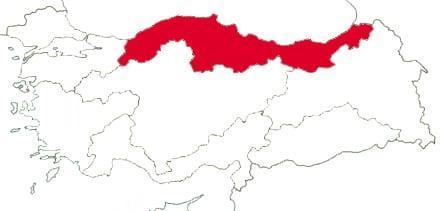 Черноморский регион на карте Турции