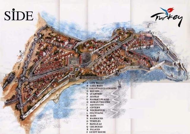 Карта достопримечательностей Сиде