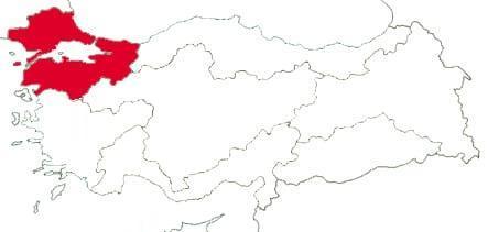 Мраморноморский регион на карте Турции