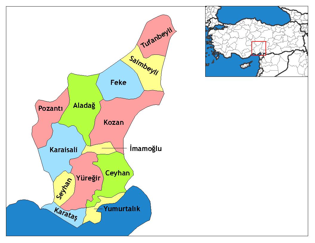 Районы провинции Адана
