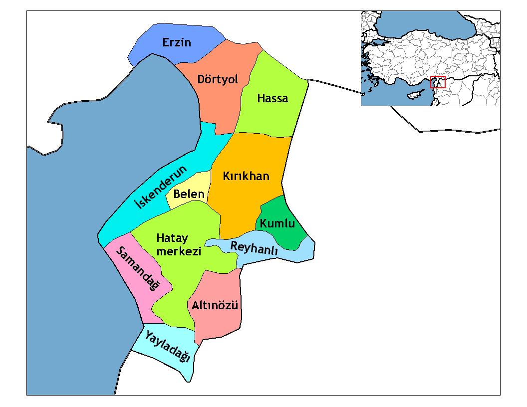 Районы провинции Хатай