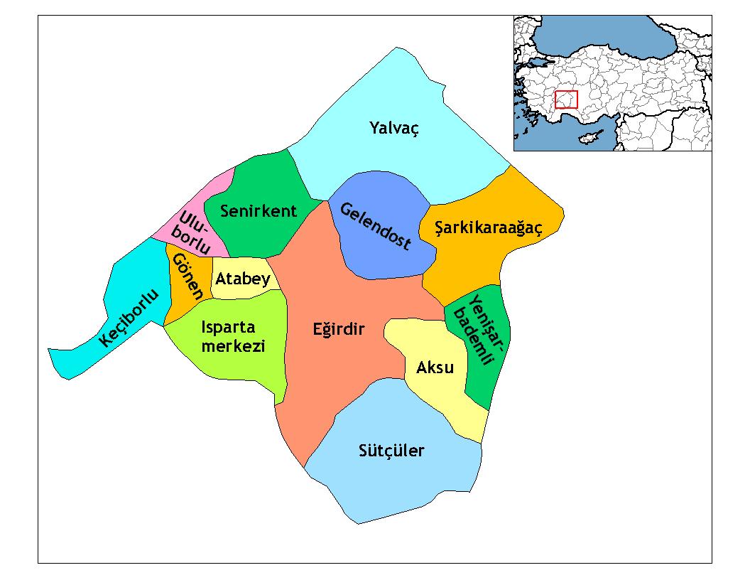 Районы провинции Ыспарта