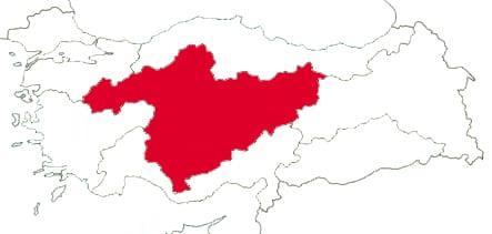 Регион Центральная Анатолия на карте Турции