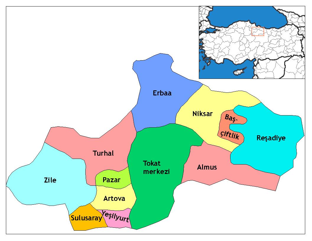 Районы провинции Токат
