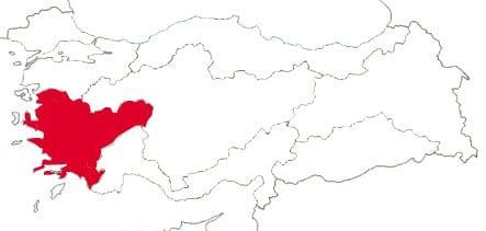 Эгейский регион на карте Турции