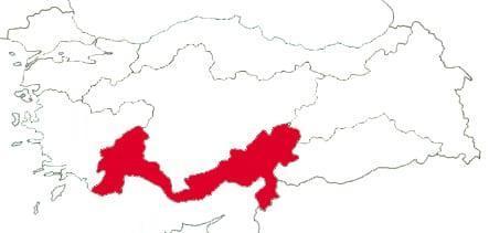 Средиземноморский регион на карте Турции