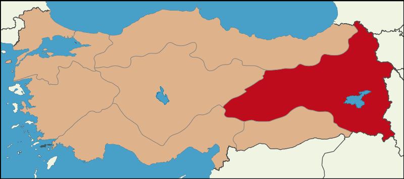 Регион Восточная Анатолия на карте Турции