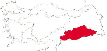Юго-Восточно-Анатолийский регион на карте Турции