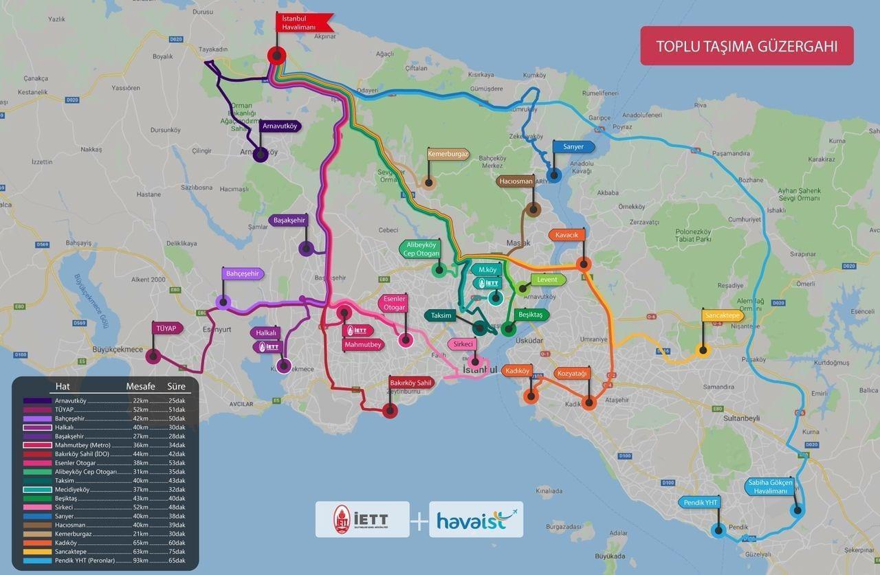 Схема маршрутов автобусов Havaist с остановками