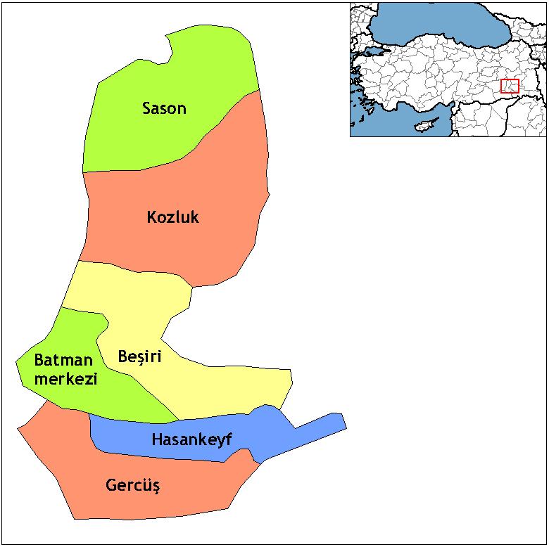 Районы провинции Батман