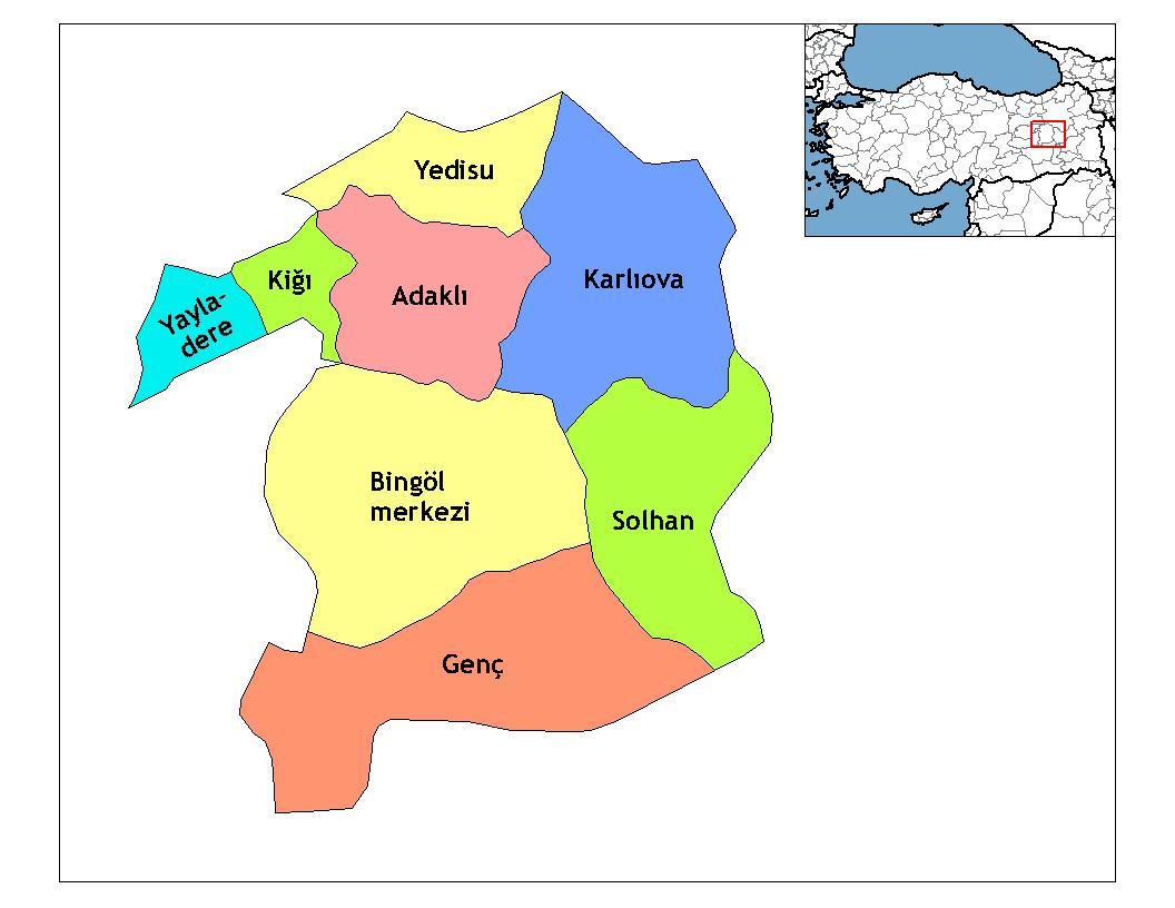 Районы провинции Бингёль