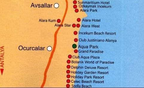 Карта отелей Окурджалар