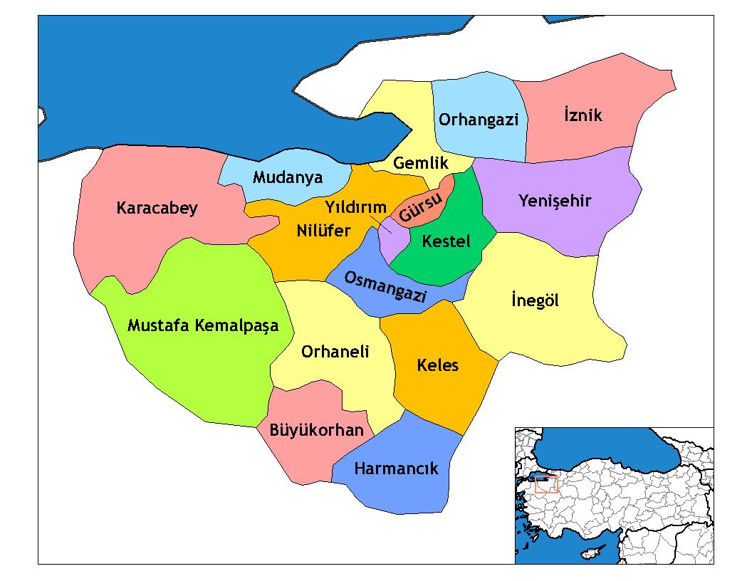 Районы провинции Бурса
