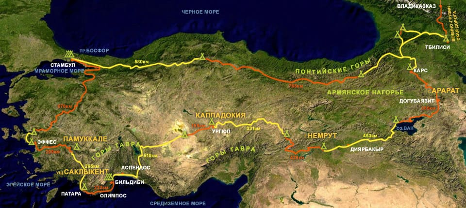 Геотермальный пояс Турции - горы на карте Республики