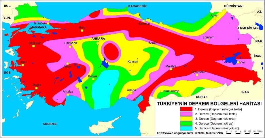 Сейсмическая карта Турции